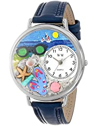Unisex U1210015 Flip-flops Navy Blue Leather Watch