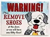Please Remove Your Shoes Sign - Old English Sheepdog Laminated 5