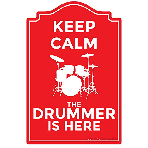 (The Drummer is Here Novelty Sign | Indoor/Outdoor | Funny Home Décor for Garages, Living Rooms, Bedroom, Offices | SignMission Wall Lover Gag Gift Sign Wall Plaque)