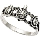 Sterling Silver Three Turtles Band Ring