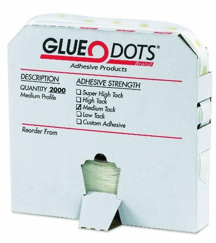 "Glue Dots Medium Profile Medium Tack Glue Dot, 1/2"" Diameter x 1/32"" Thick, Case of 2000 (GD114)"