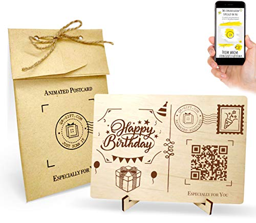 Happy Birthday Wooden Card With Your Video Recording, Handmade Greeting Card, Real Personalized Wood Postcard BDay Funny…