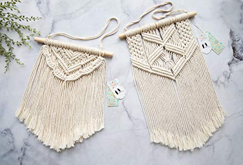 Mkono 2 Pcs Macrame Wall Hanging Art Woven Wall Decor Boho Chic Home Decoration for Apartment Bedroom Living Room… - This cute macrame wall hanging is created to fit in any space and budget. Beautiful wall art creates a sense of harmony and comfort for your room. It is great for a bedroom, dorm room, living area, baby nursery, workspace or anywhere where you'd like to bring some texture and interest to your walls. Mkono Macrame Wall Hanging is made of 100% Pure cotton cord, without artificial ingredients or chemicals. Sturdy, durable and premium quality. This cute and chunky macrame can make a big difference in any space. Its symmetrical design will fit in any interior. This woolen hanging makes a perfect statement piece for hanging over the head of a bed or baby crib, over a couch, fireplace mantel or desk, or near a window for adding a cozy touch to your living or work space. Great decoration for party, wedding, or as photo props. - living-room-decor, living-room, home-decor - 51TP0XTGQDL -