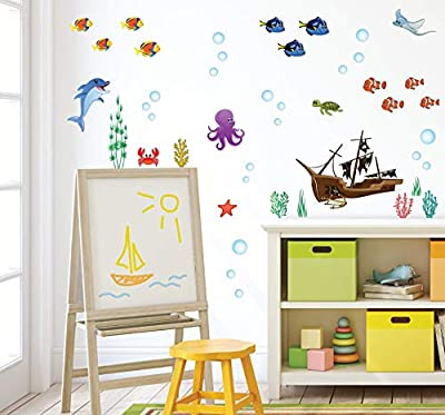 treepenguin Ocean Wall Decals for Kids Rooms – Under The Sea Fish Wall Decor - Bathroom Wall Stickers - Bedroom Bathtub Shower Sea Animal Decorations