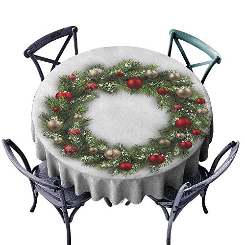 duommhome Christmas Easy Care Tablecloth Fresh Classical Christmas Wreath Vivid Balls Snowy Fir Felicitation Theme Easy Care D55 Green Gold Red