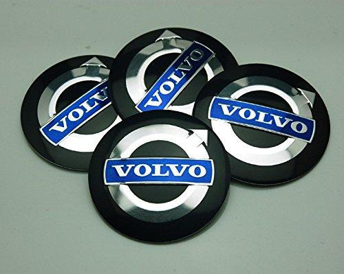 (BENZEE 4pcs D111 56.5mm Car Emblem Badge Sticker Wheel Hub Caps Centre Cover Black VOLVO V40 V60 S60 S80 XC60 XC90)
