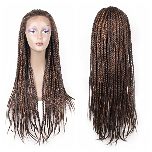 HAIR WAY Synthetic Box Braided Lace Front Wig Glueless Long Braided Lace Wig with Baby Hair and Natural Hair Line for Black Women Half Hand Tied 450g 26inches #F4/30