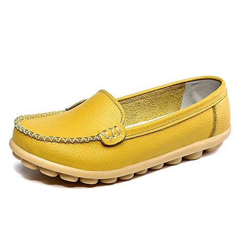 de Zapatos ocasionales Mocasines para amarillos Embarcación cuero de con Mocasines cordones planos Jushee mujer dqHCq