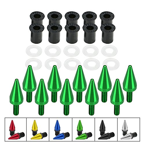 (Spike Motorcycle Windscreen Bolts Windshield Screws Set Universal 10 Piece (green))