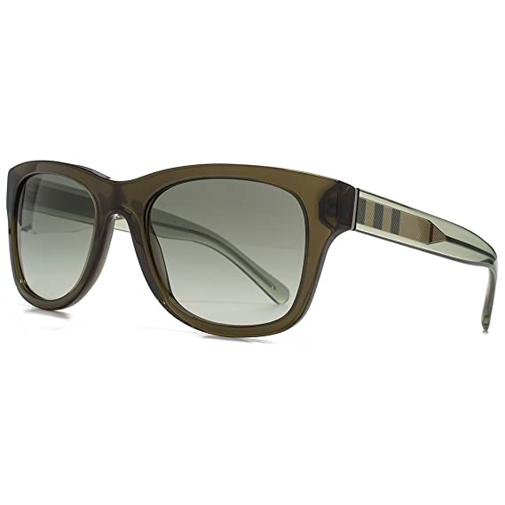 367e4cc7ac3 Burberry Stripe Temple Wayfarer Sunglasses in Olive Green BE4211 30108E 55  55 Green Gradient  Amazon.co.uk  Clothing
