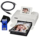 Canon Selphy CP1200 Wireless Color Photo Printer (White) + USB Printer Cable + HeroFiber Ultra Gentle Cleaning Cloth