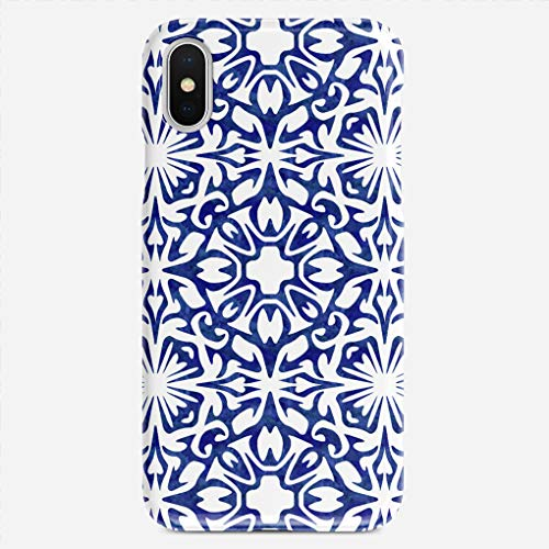 GUOOPE Compatible iPhone 7 Plus / 8 Plus case Blue White Watercolor Spanish Tile Pattern Slim Fit Shell Hard Plastic Full Protective Anti-Scratch Resistant ()