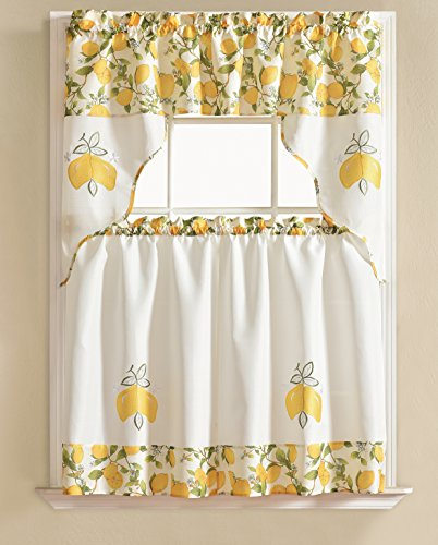 RT Designers Collection Urban Embroidered Tier and Valance Kitchen Curtain Set, Lemon