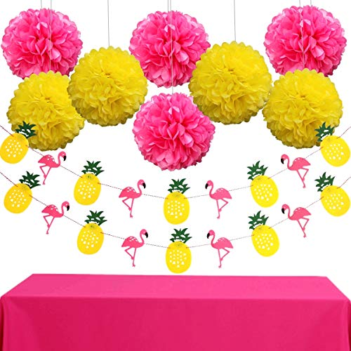 (InBy Hawaiian Luau Party Decoration Tropical Supplies Kit - Tissue Paper Flower Pom Poms, Flamingos Pineapple Banner - Yellow, Rose)