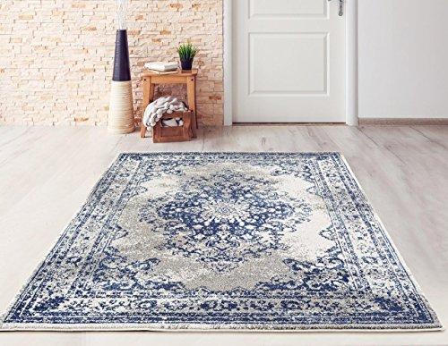 Dara Rugs 3931 White D.Blue Oriental 8 x 10 Area Rug Carpet Large New