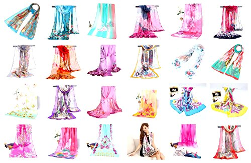 12 chiffon scarves wholesale bulk silky soft]()
