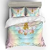 Emoji Full Size Bedding Suncloris,Magic Emoji Rainbow Unicorn,Kids' Gift Home Bedding Set.Included:1 Duvet Cover,2 Pillowcase(no Comforter Inside) (Full)