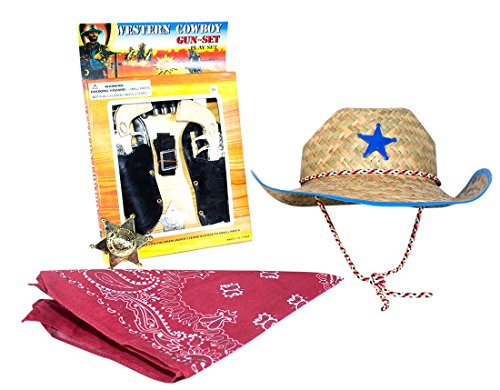 (B)Wild West Cowboy Costume Accessories for KIds Gun Set with Red Bandanna, Blue Trimed Western Sheriffs Hat and Gold and Silver Badge 1 of each (Old West Outfit)
