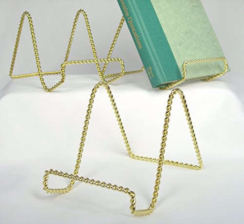 Twisted Brass Easel - Wire Easel Display Stand - Twisted Brass Metal - 4 Inch - Pack of 3