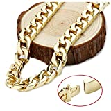 Gold chain necklace 14mm 14Karat Diamond Cut Smooth Cuban Link With A Warranty Of A LifeTIime. USA made! (22)