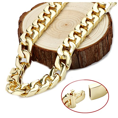 Gold chain necklace 14mm 14Karat Diamond Cut Smooth Cuban Link With A Warranty Of A LifeTIime. USA made! (22) by Unknown