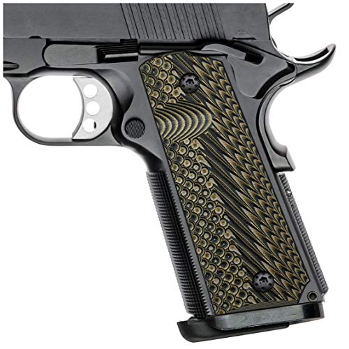 Cool Hand 1911 Full Size G10 Grips, Free Screws Included, Mag Release, Ambi Safety Cut, OPS Texture, Brand (Coyote Color)