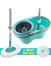 MAURY'S Wheel Mop Set Mocio Rotante Lavapavimenti con Panno Microfibra Secchio Strizzatore 360° e Manico Estendibile