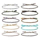 Jeka Handmade Wrap Friendship Braided Bracelet-10Pcs for Women Girl Colorful Wrist Cord Adjustable Graduation Gifts