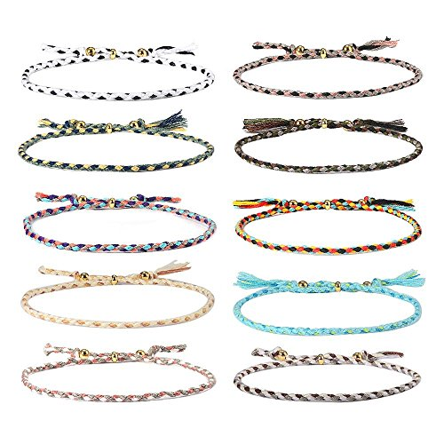 Jeka Handmade Wrap Friendship Braided Bracelet for Women Girls - 10Pcs Colorful Wrist Cord Adjustable Birthday Gifts-Party Favors