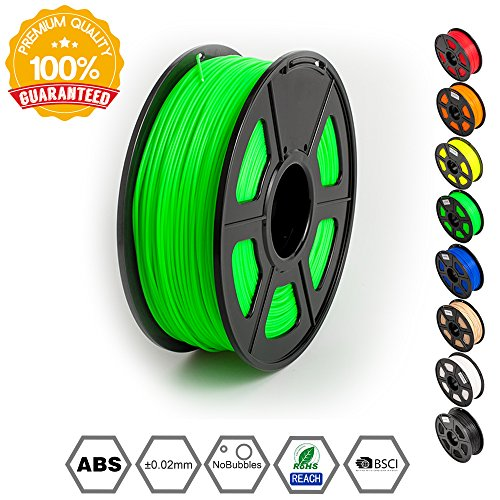 ABS Filaments for 3D Printer-SUNLU Green ABS Filament 1.75 mm,Low Odor Dimensional Accuracy +/- 0.02 mm 3D Printing Filament,2.2 LBS (1KG) Spool 3D Printer Filament for 3D Printers & 3D Pens,Green