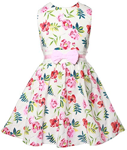 Toddler Girls Sleeveless 50s Vintage Print Rockabilly Prom Party Swing Dresses Kids 7 8 -