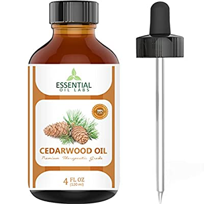Cedarwood Oil 100% Pure and Natural - 4 Oz. with Glass Dropper - Therapeutic Grade - Excellent for Aromatherapy, Hair Growth, Improves Focus and Mood by Essential Oil Labs