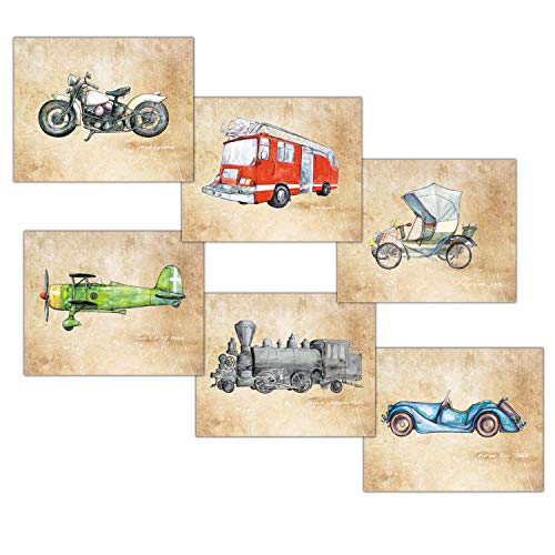 (Motorcycle Airplane Train Cars Set 6 Prints 8x10 inch Vintage Decor for Boy Bedroom)