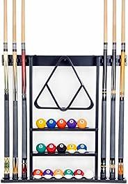 6 Pool Cue - Billiard Stick Wall Rack Made of Wood