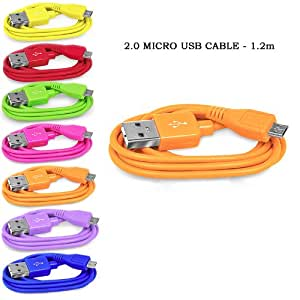 Sleek Gadgets®–Naranja Cable Micro USB 2.0para Blackberry, Sony, Samsung, HTC, LG, Nokia, Naranja, Sony Ericsson Motorola