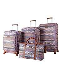 Nicole Miller New York Chantelle Collection 4-Piece Luggage Set: 28, 24, 20 Spinners and Shopper Tote