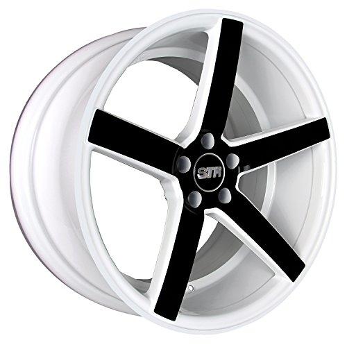 Racing 5 Spoke (STR RACING STR607 Solid White with Black Spoke Finish Wheel (22x9