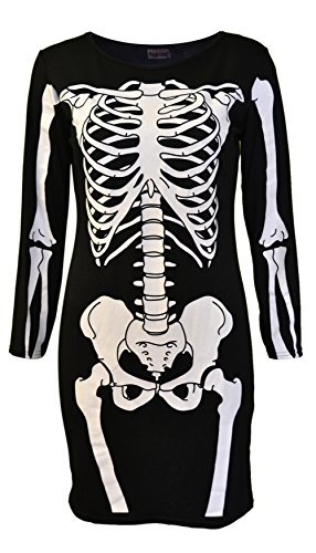 [Womens Ladies Halloween Skeleton Skull Bone Red Blood Heart Girls Bodycon Costume Novelty Party Dress Tunic Plus Size 8-10-12-14 16 18 20 (12-14, Black Skeleton) by Vitageclothing by] (Red Skull Costume Uk)