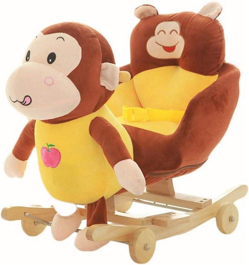 Juguete del paseo del caballo mecedora del bebé, Caballo de oscilación Rey Mono gran caballo de Educación infantil temprana silla de oscilación de Música de Doble Uso de madera Juguetes 1-4 años de ed