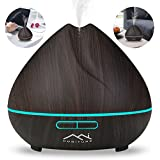 Essential Oil Diffuser 400ml with 7 Color LED Lights Changing,Wood Grain Aromatherapy Ultrasonic Cool Mist Baby Humidifier for home,office,yoga,Spa,bedroom (Deep gray)