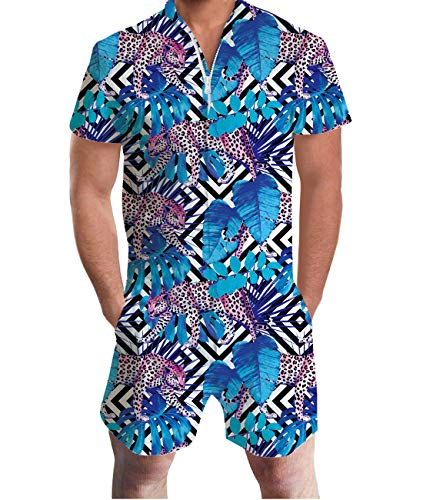 Men's Romper Novelty Leopard Tropical Shorts Sleeve Rompers One Piece Outfit for Special Party L