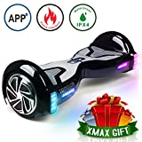 TOMOLOO Hoverboard and Smart Scooter Two-Wheel Self Balancing Electric Scooter with Light – Black Hover Board with UL2272 Certified for Battery Protection…