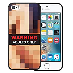 Funda iPhone SE iPhone 5 5S, WoowCase [ iPhone SE iPhone 5 5S ] Funda Silicona Gel Flexible Frase Warning Adults Only, Carcasa Case TPU Silicona - Negro
