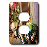 3dRose LLC lsp_52086_6 Hispanic Boy and Girl Ceramic Hanging On A Mirror with Hot Chilis and Leaves At Mexican Restaurant 2 Plug Outlet Cover