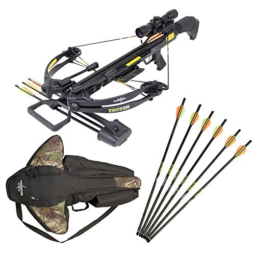 (SAS Troy 370 Compound Crossbow 4x32 Scope Package with Free Crossbow Bag and Extra 6 x Carbon Bolts)