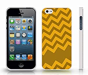 iStar Cases? iPhone 5/5S Case with Chevron Pattern Green/ Orange Stripe , Snap-on Cover, Hard Carrying Case (White)