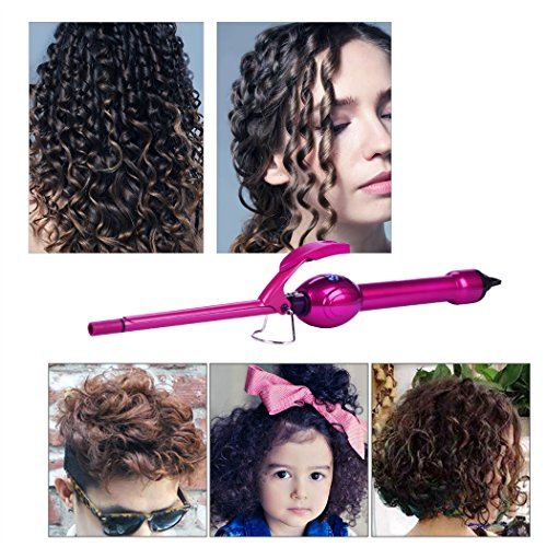 inkint 9mm Curling Iron, Skinny Thin Hair Curling Tong, LCD Screen Tight Hair Iron with Dual Voltage for Men Women Children Baby