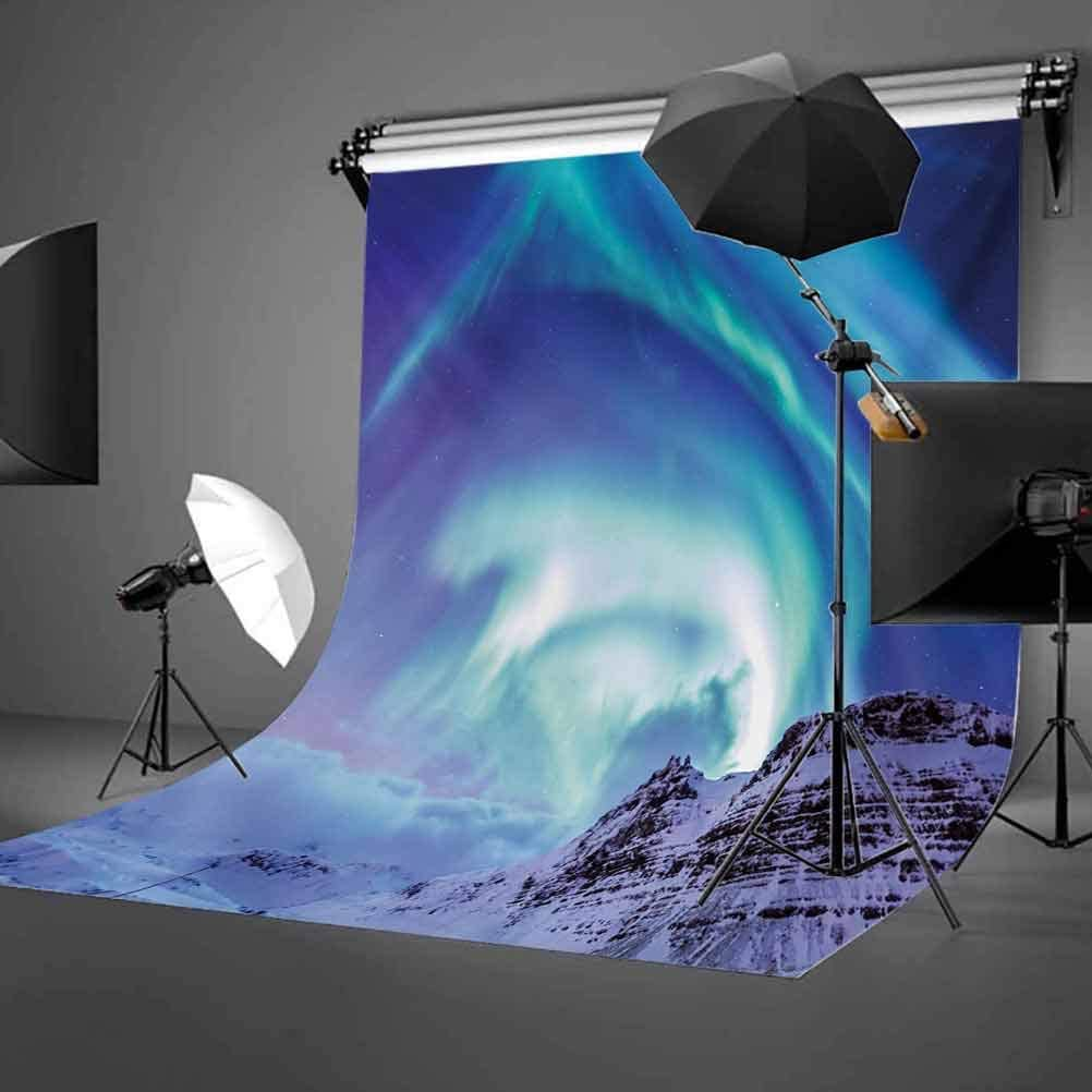 Winter 10x15 FT Photo Backdrops,Aurora Borealis Kirkjufell Iceland Natural Phenomenon Northen Environment Background for Baby Shower Bridal Wedding Studio Photography Pictures Blue Sea Green Lilac