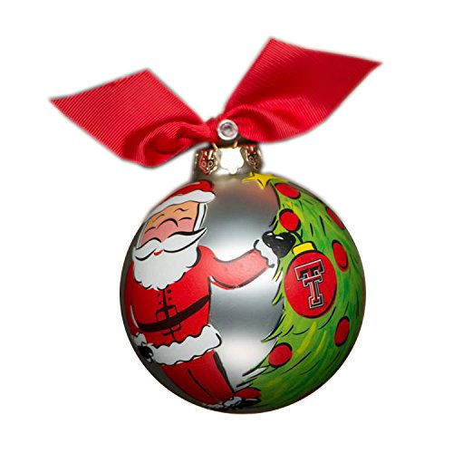 Glory Haus Texas Tech Santa Glass Ornament, 4-Inch