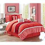 Modern 7 Piece Ruffle Pleated (California) CAL KING Size Bedding in Shades of Coral, PInk and Red - Comforter Set with accent pillows